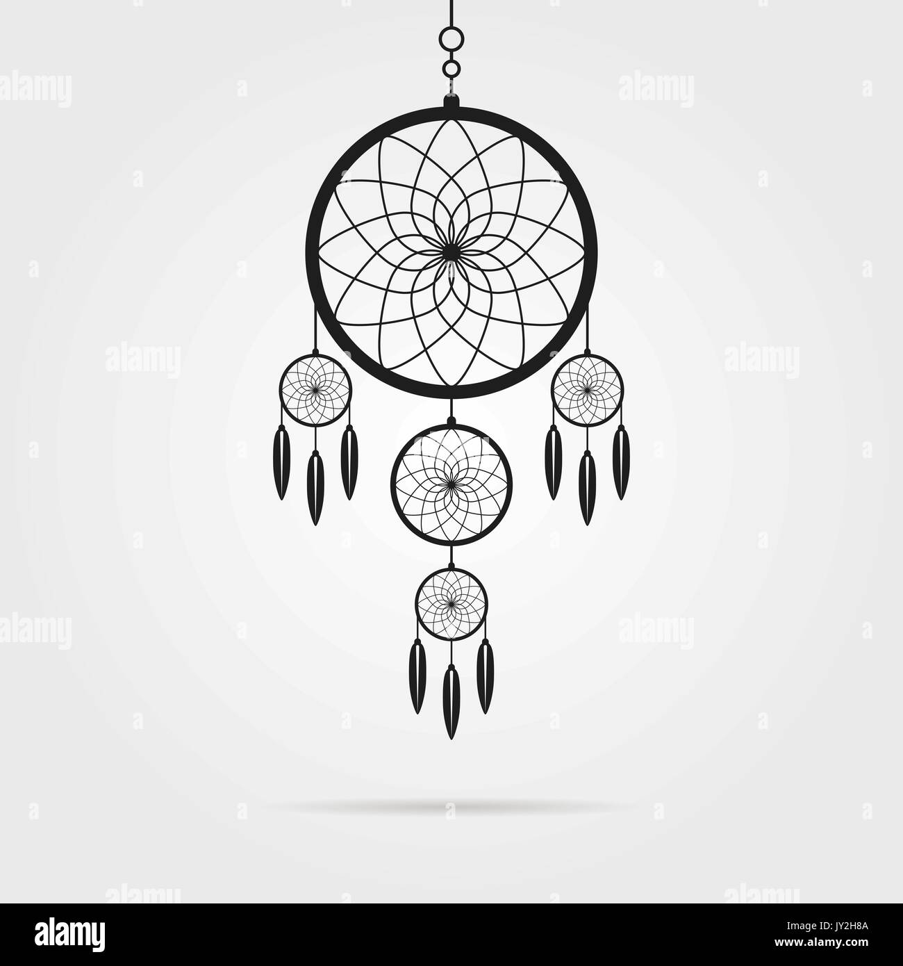 black dream catcher icon with shadow - Stock Image