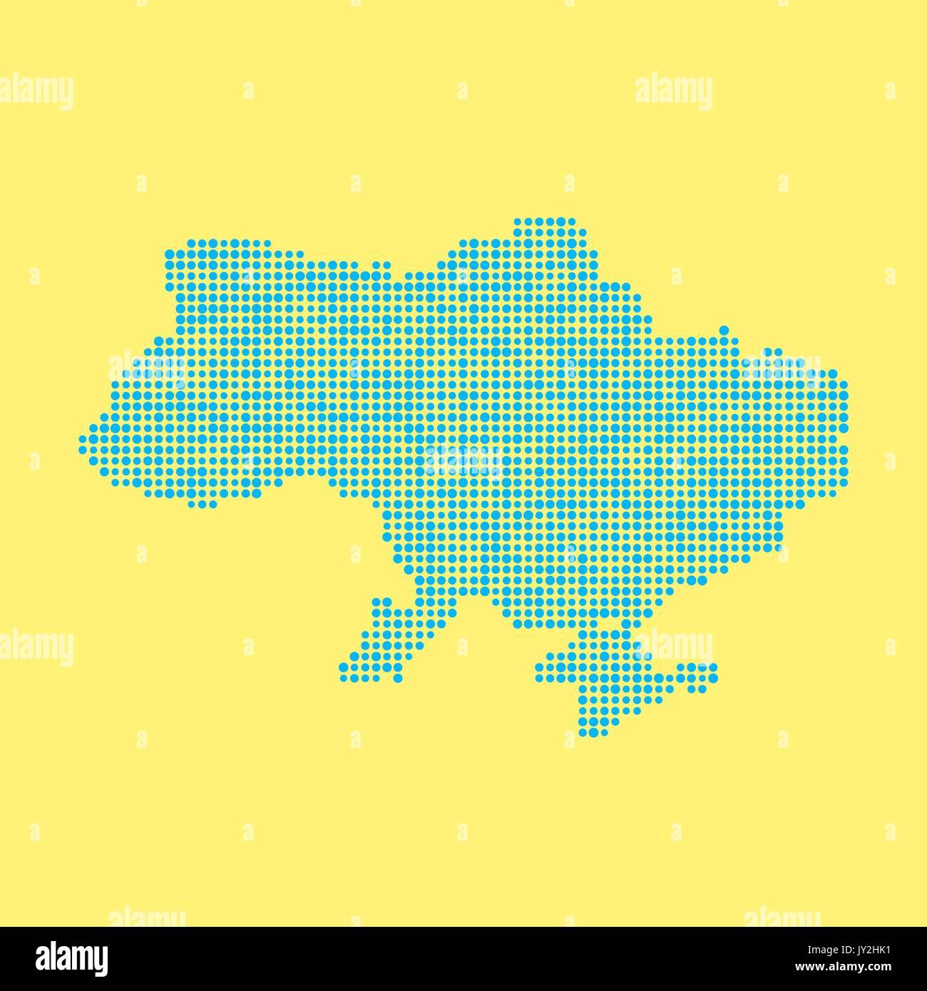 blue ukrainian map from dots Stock Vector