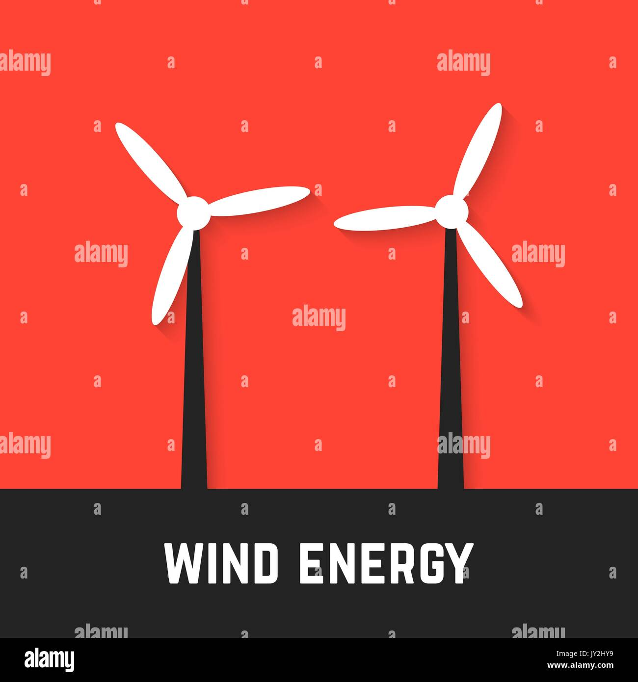 black and white wind motors on red background - Stock Vector