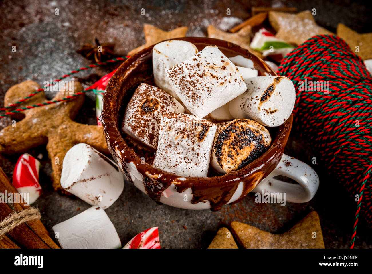 New Year Christmas Treats Sweets Cup Of Hot Chocolate With Fried