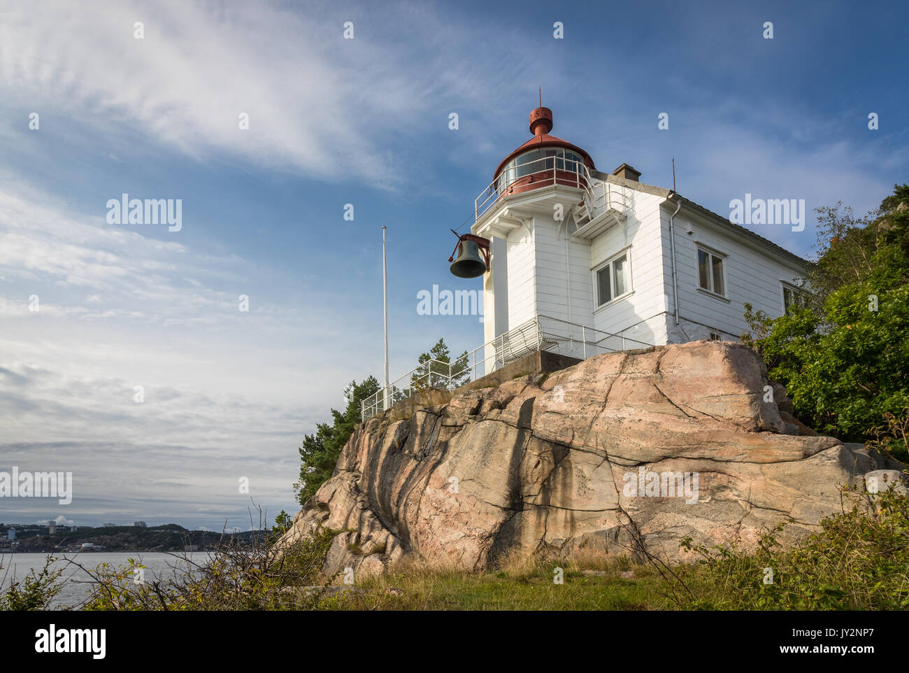 Lighthouse at Odderoya in Kristiansand, Norway - Stock Image