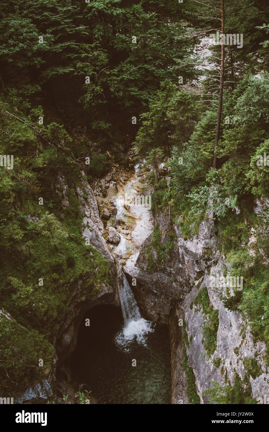 High angle view of waterfall by the Marienbrucke bridge in the German Alps - Stock Image
