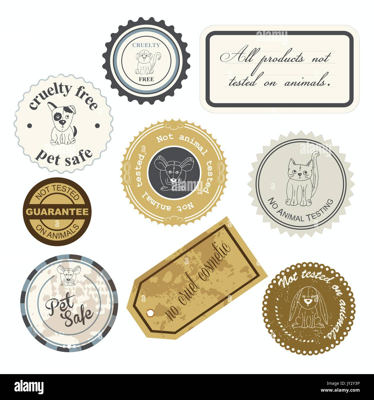 vector illustration of a set of cruelty free vintage labels with hand drawn plushies animals - Stock Image