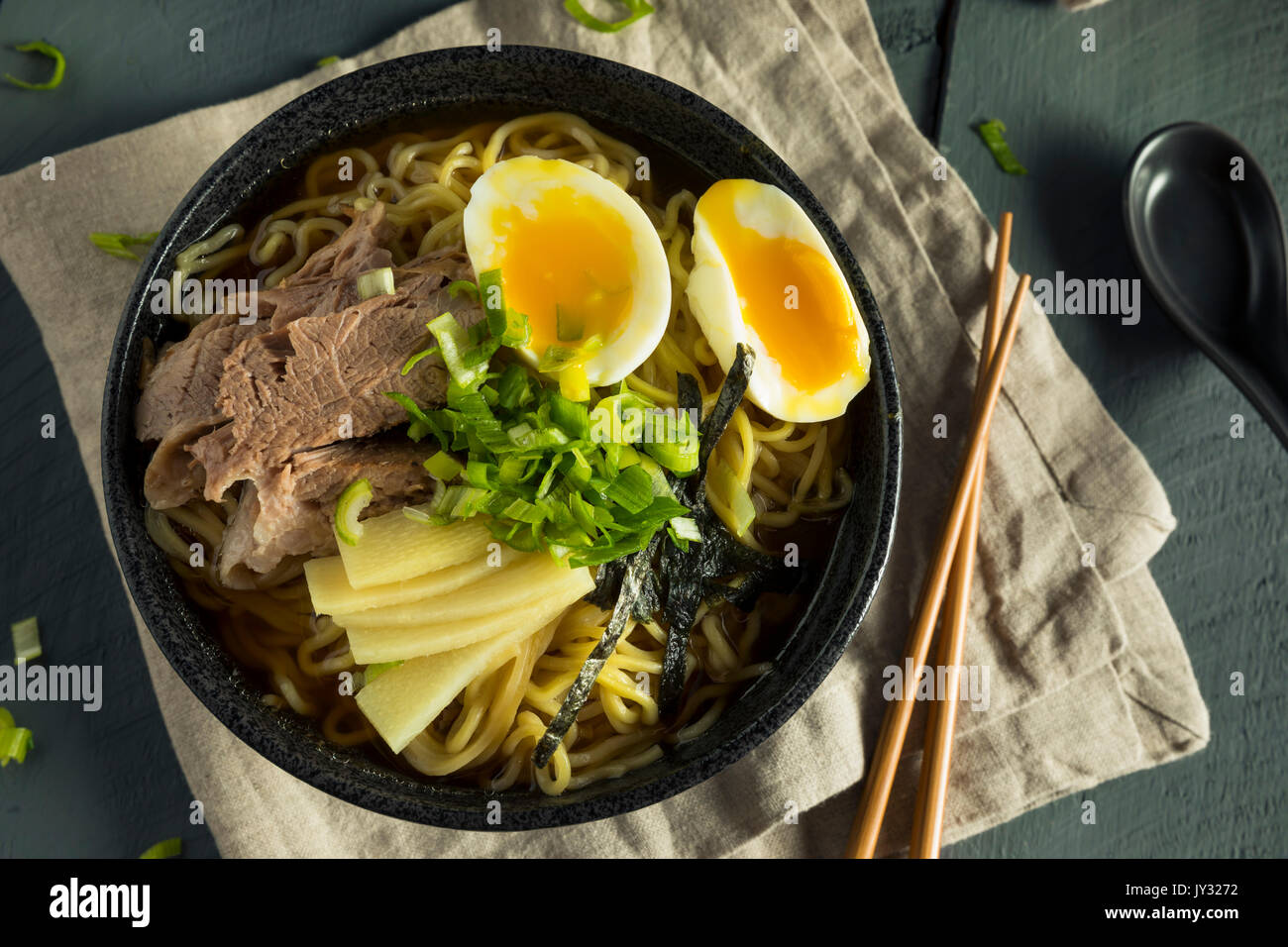 Homemade Japanese Pork Ramen Noodles with Egg and Seaweed - Stock Image