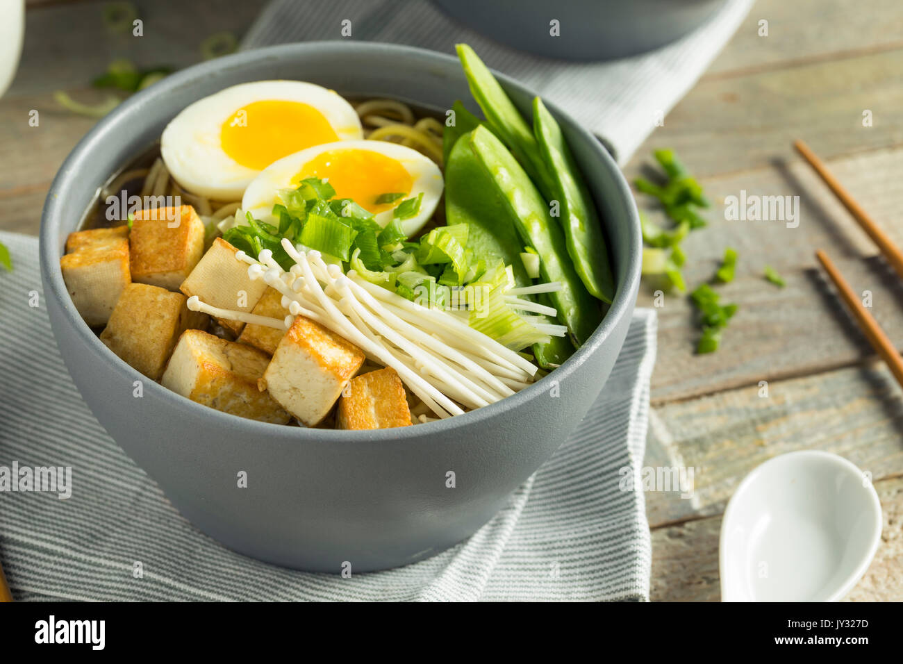 Homemade Japanese Vegan Tofu Ramen Noodles with Egg and Mushrooms Stock Photo