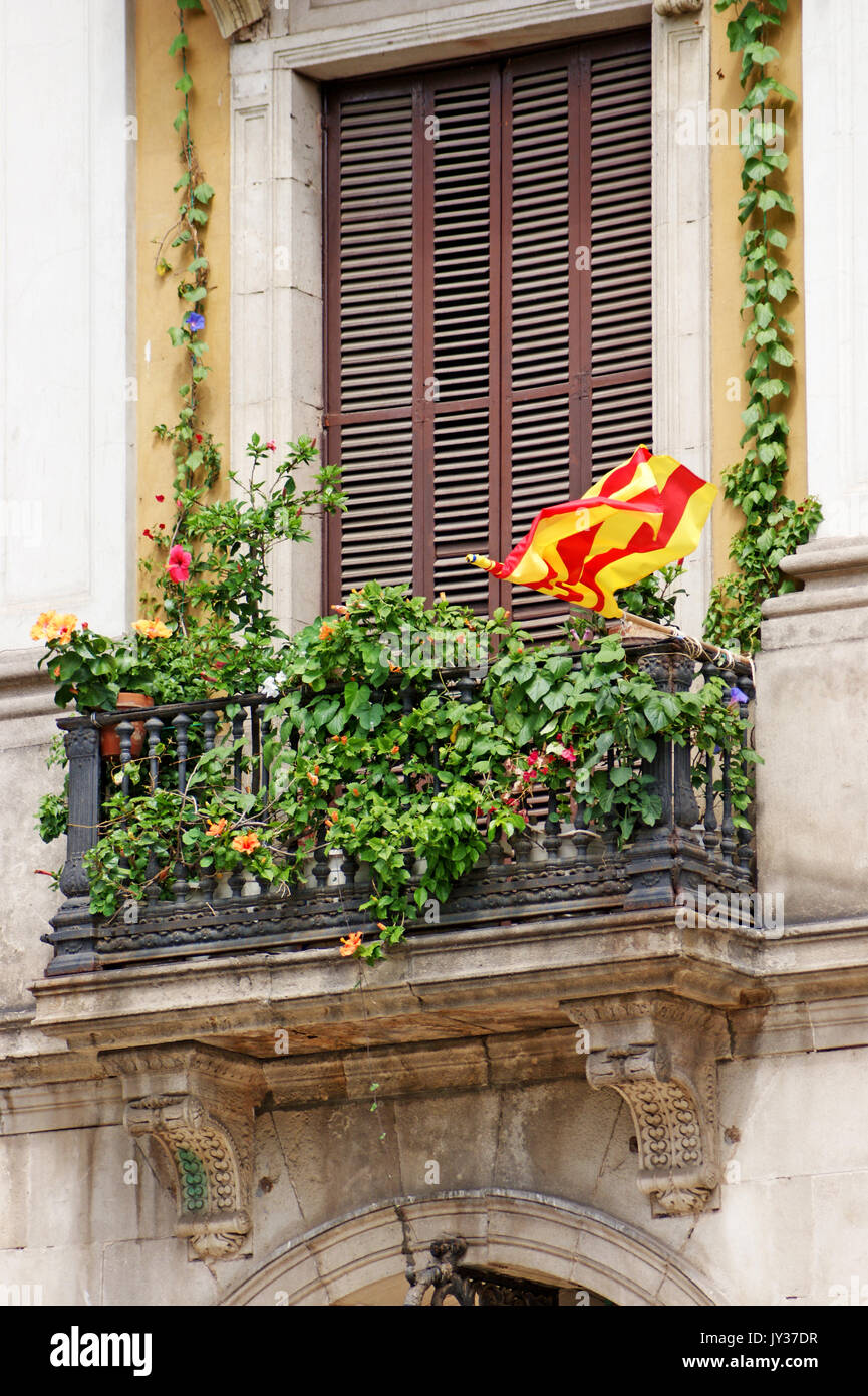 Upper floor apartment in Barcelona has a terrace filled with summer foliage as well as showing Catalonian pride with the Catalonian flag hung outside - Stock Image