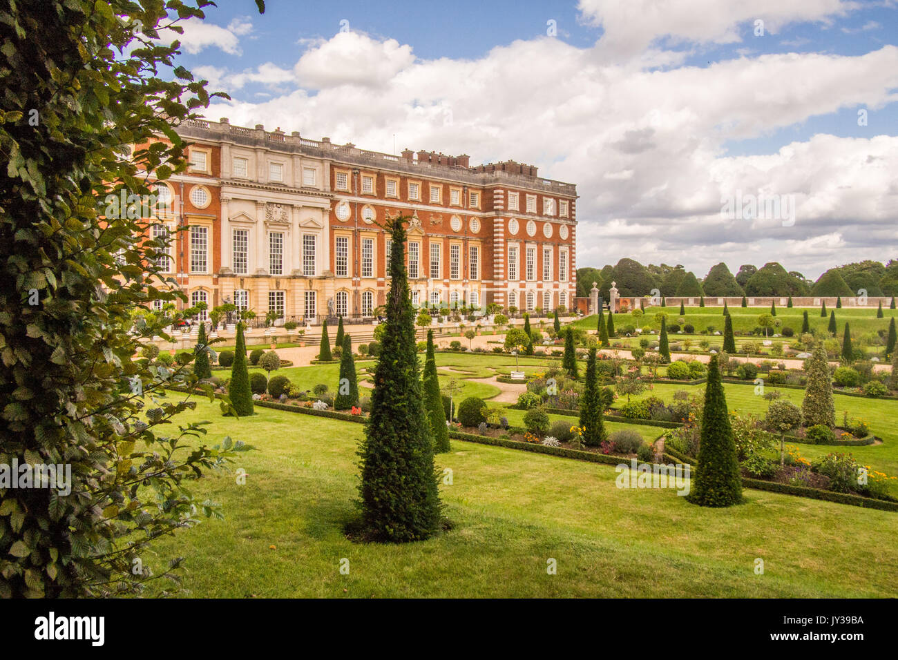 Hampton Court Palace with the Privy Garden in front, Richmond on Thames, London, England. - Stock Image