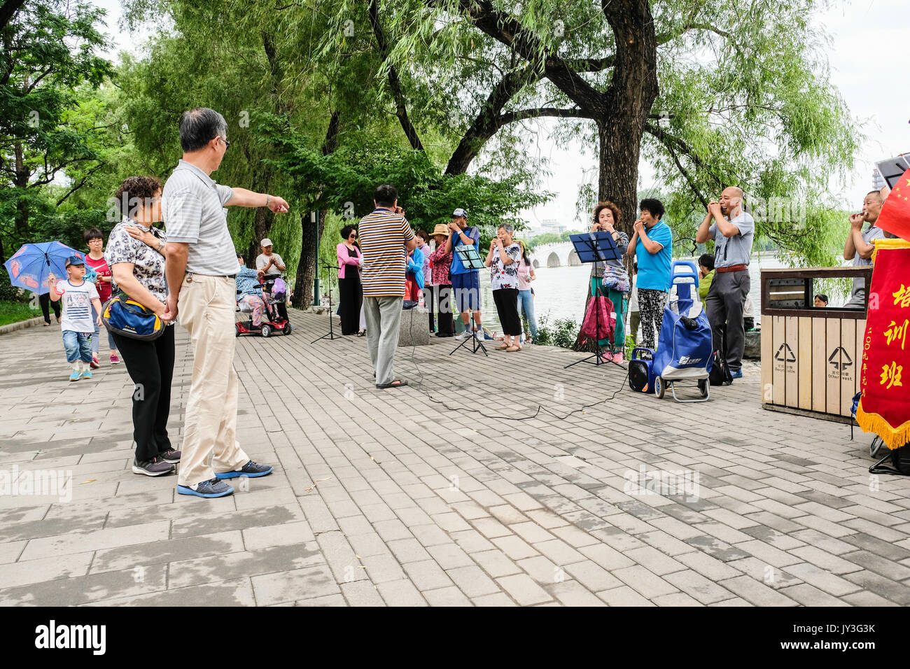 A group of retired Chinese men and women practicing harmonica in Yu Yuan Tan park in Beijing, China - Stock Image