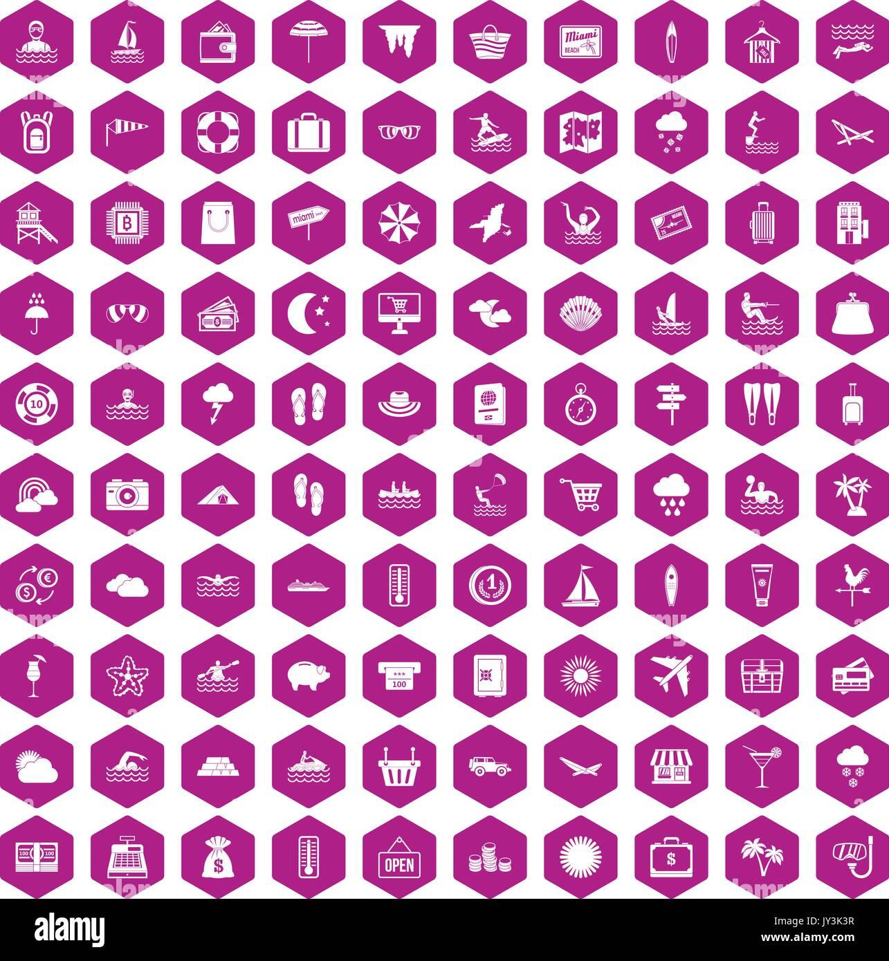 100 seaside resort icons hexagon violet - Stock Vector