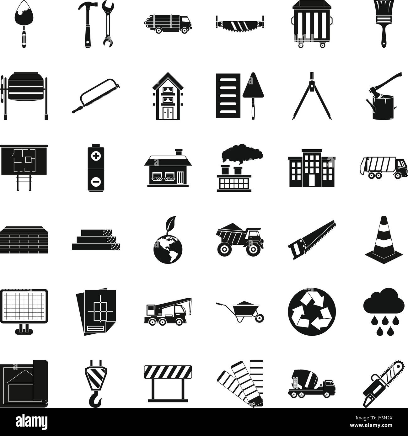 Construction Material Icons Set Simple Style Stock Vector Image Art Alamy