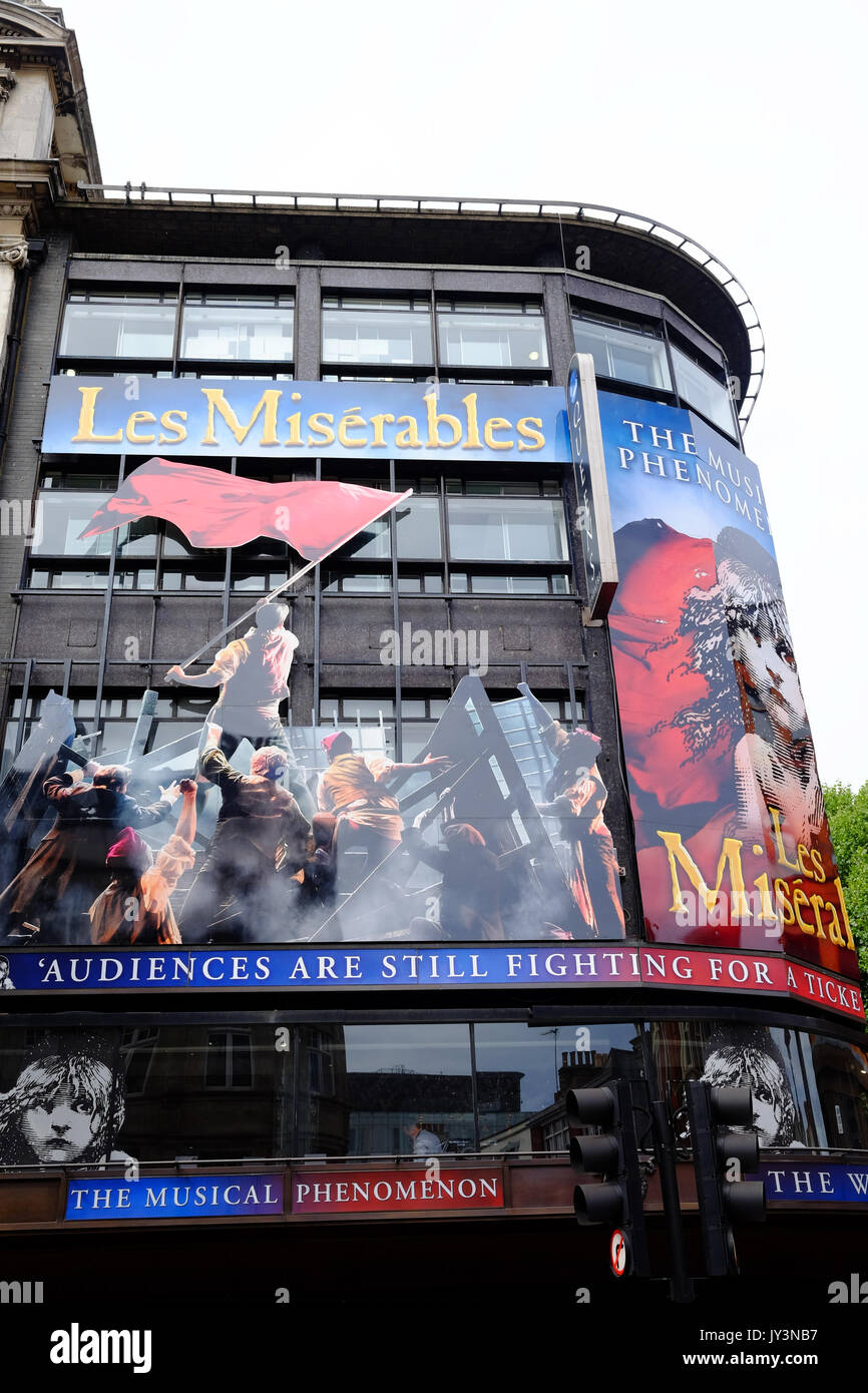 The Queen's Theatre in Shaftesbury Avenue, London hosting Les Miserables, a West End success - Stock Image