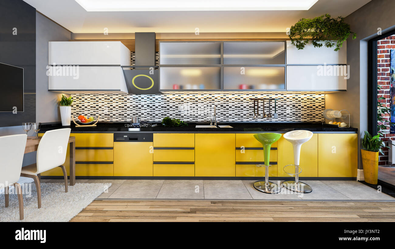 Yellow Color Kitchen Design Black White Ceramic With Fresh Fruit And