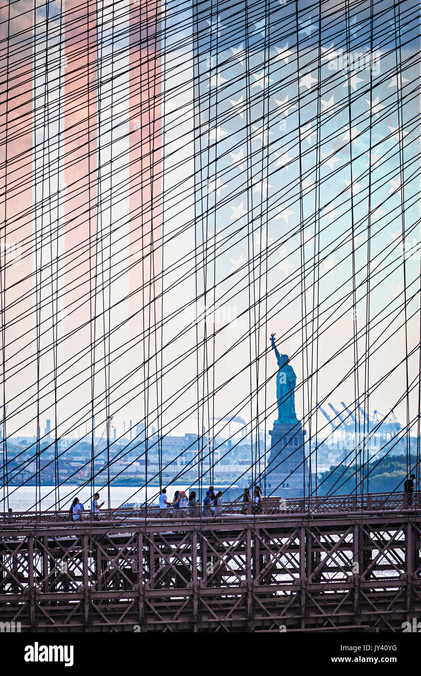 Statue of Liberty and Brooklyn Bridge with a transparent