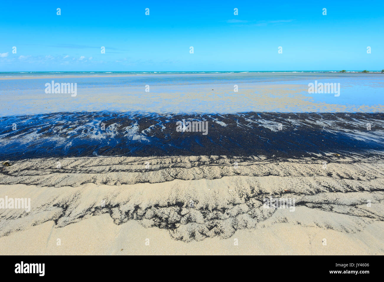 Sand Patterns made of ilmenite and magnetite eroded from granites, Cape Tribulation, Daintree National Park, Far North Queensland, FNQ, QLD, Australia - Stock Image
