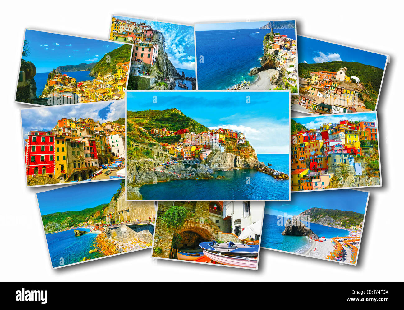 Collage of Cinque Terre photos in Italy - Stock Image