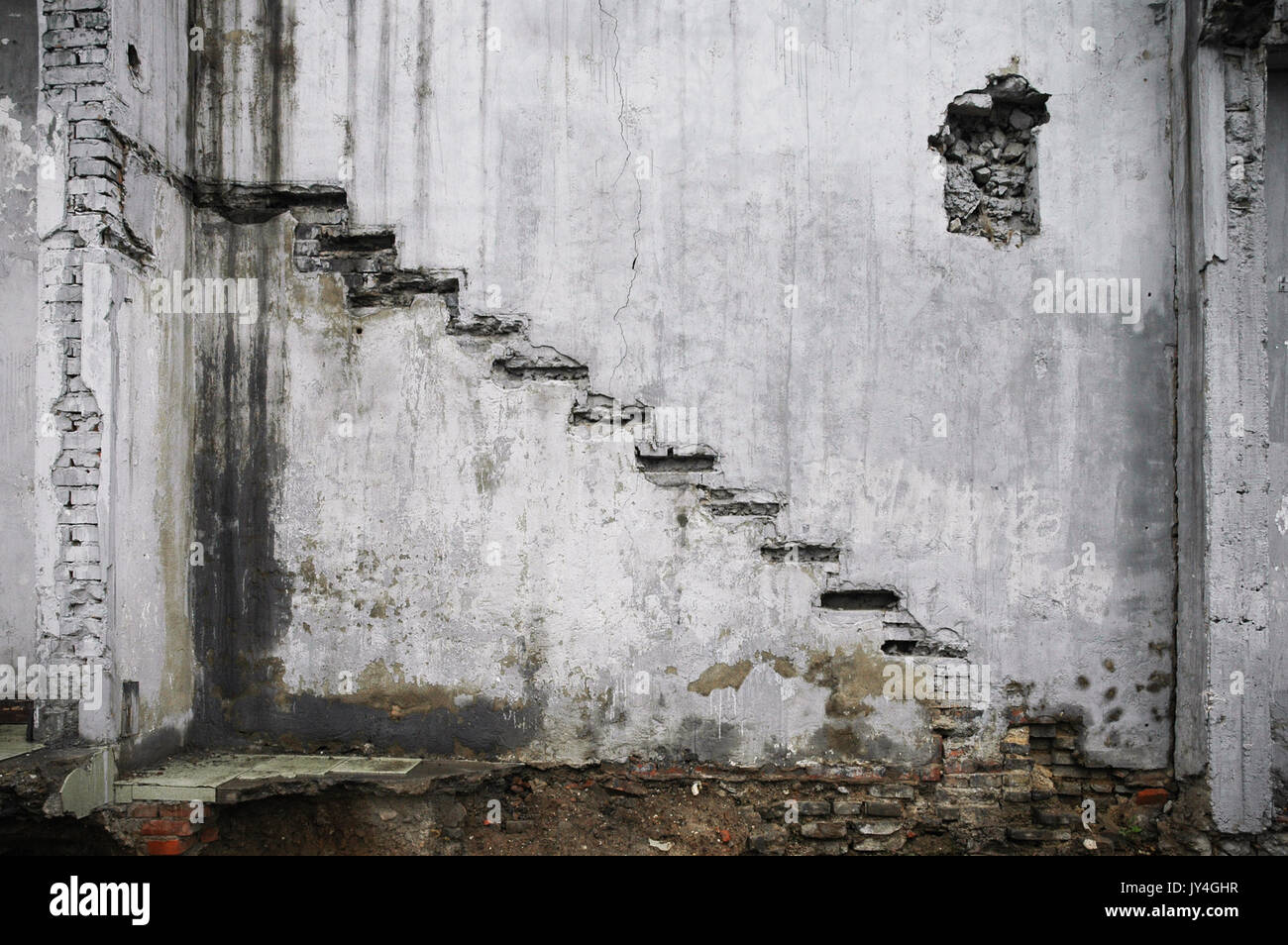 Remnants of a staircase in a demolished building in a hutong in Beijing, China. - Stock Image