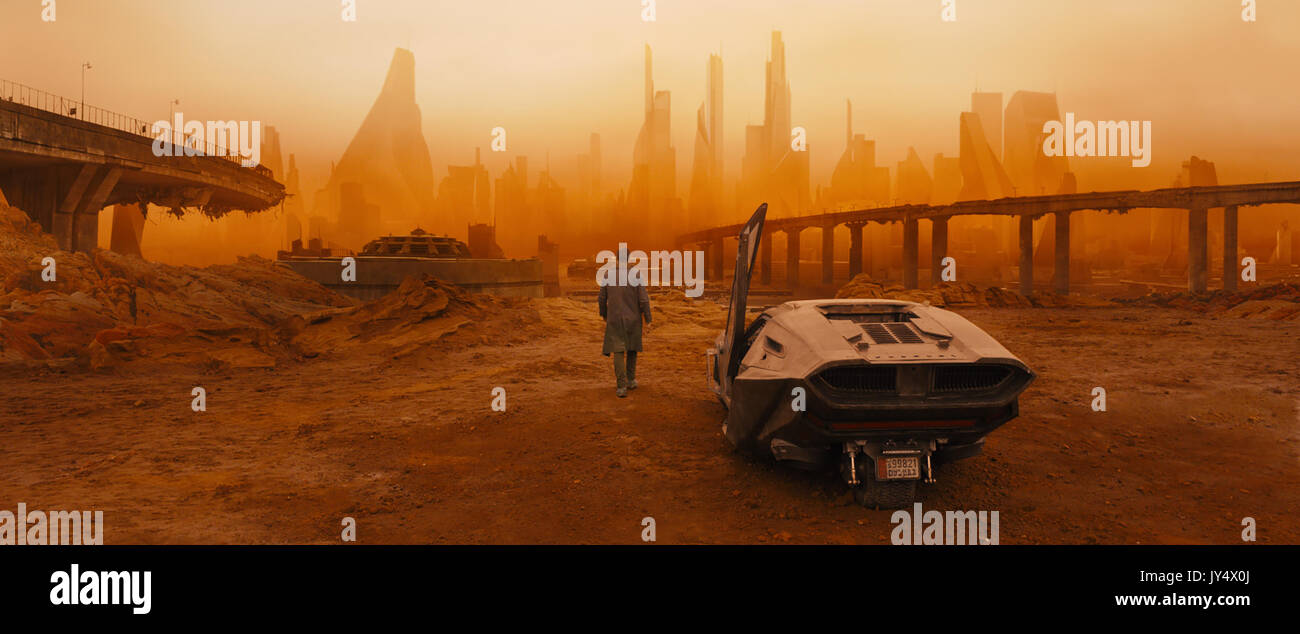 RELEASE DATE: October 6, 2017 TITLE: Blade Runner 2049 STUDIO: Columbia Pictures DIRECTOR: Denis Villeneuve PLOT: Thirty years after the events of the first film, a new blade runner, LAPD Officer K (Ryan Gosling), unearths a long-buried secret that has the potential to plunge what's left of society into chaos. K's discovery leads him on a quest to find Rick Deckard (Harrison Ford), a former LAPD blade runner who has been missing for 30 years STARRING: Poster Art (Credit: © Columbia Pictures/Entertainment Pictures) - Stock Image