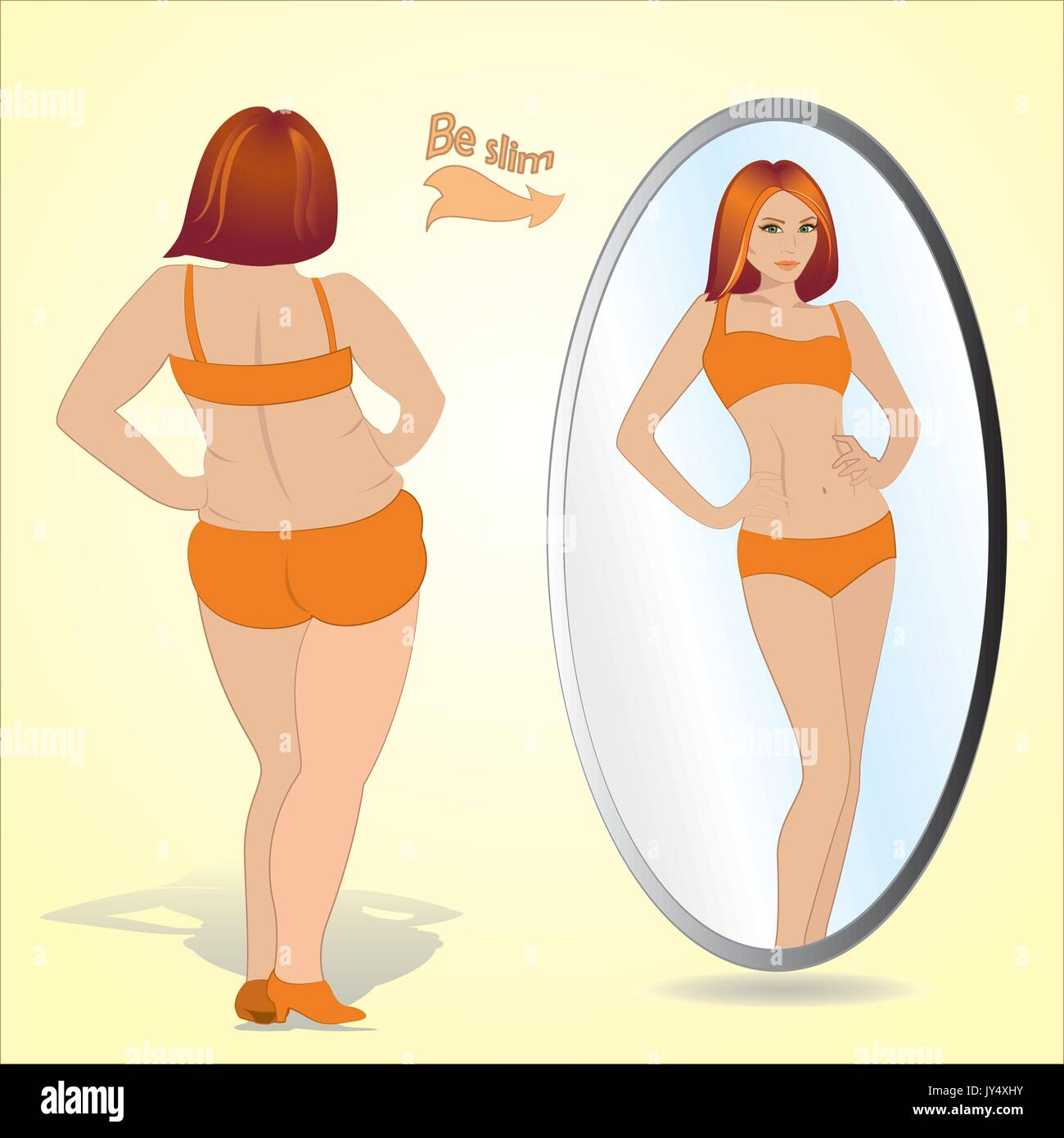 Fat woman looking in mirror and seeing herself as slim and younger, vector - Stock Vector