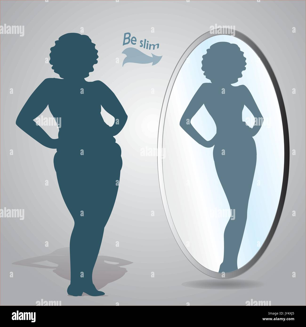 Silhouette of a fat woman looks in the mirror and seeing herself as slim a, vector - Stock Vector