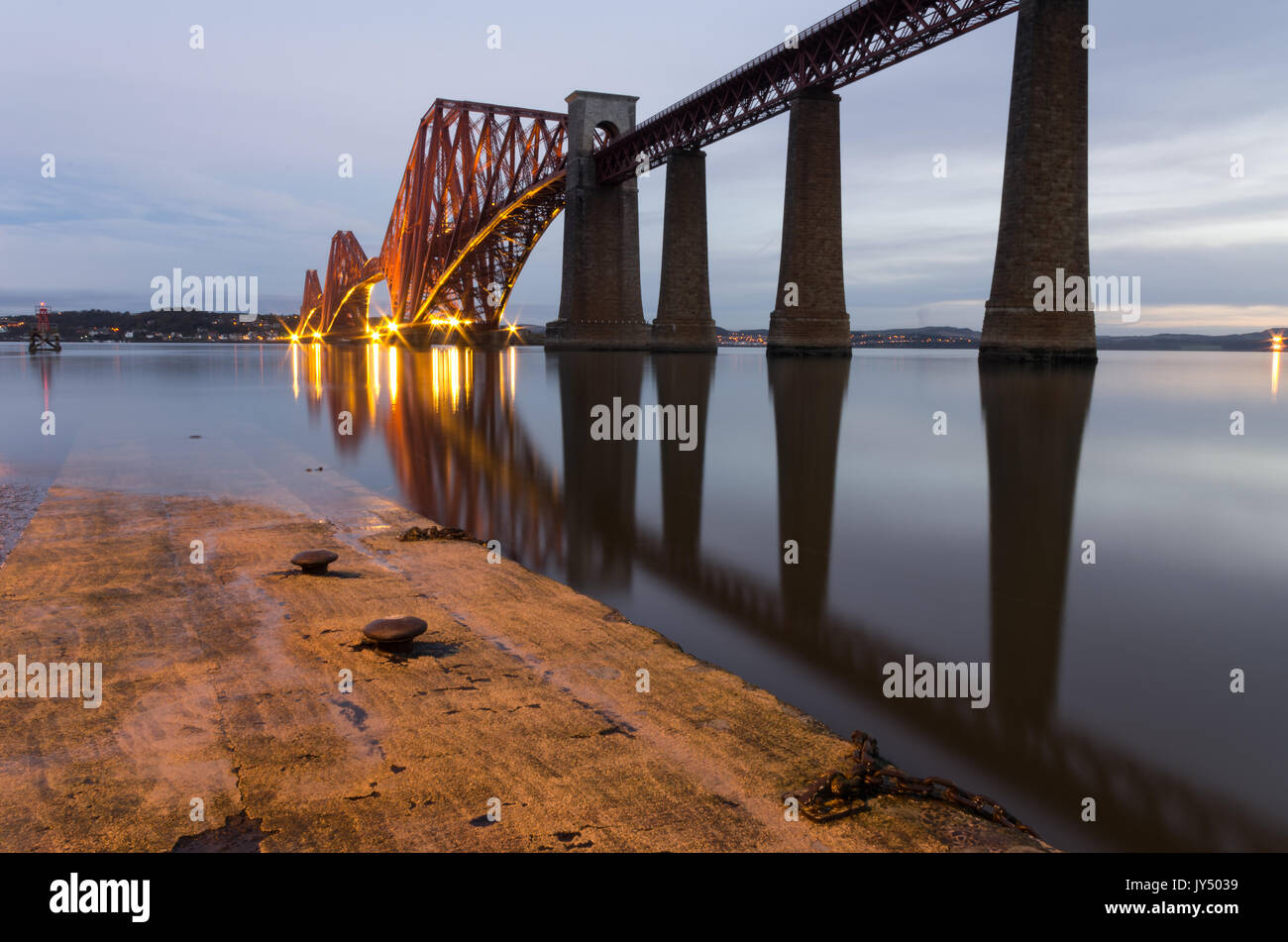 Dawn at the Forth Rail Bridge, South Queensferry, Firth of Forth, Scotland - Stock Image