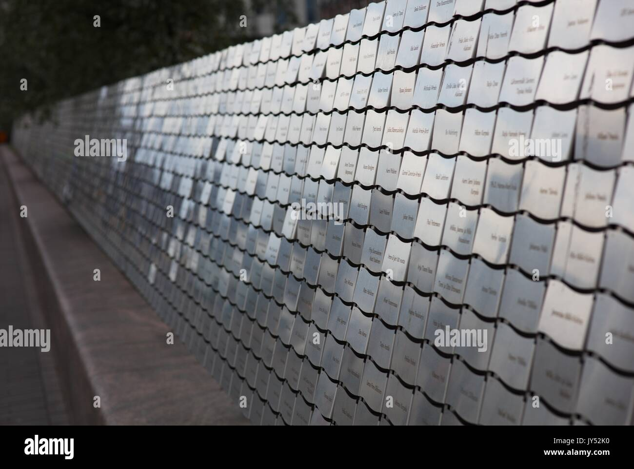 The Horizon, The Baltic Sea, Art, Helsinki, Finland, consists of 4225 plates or gleams with names - Stock Image