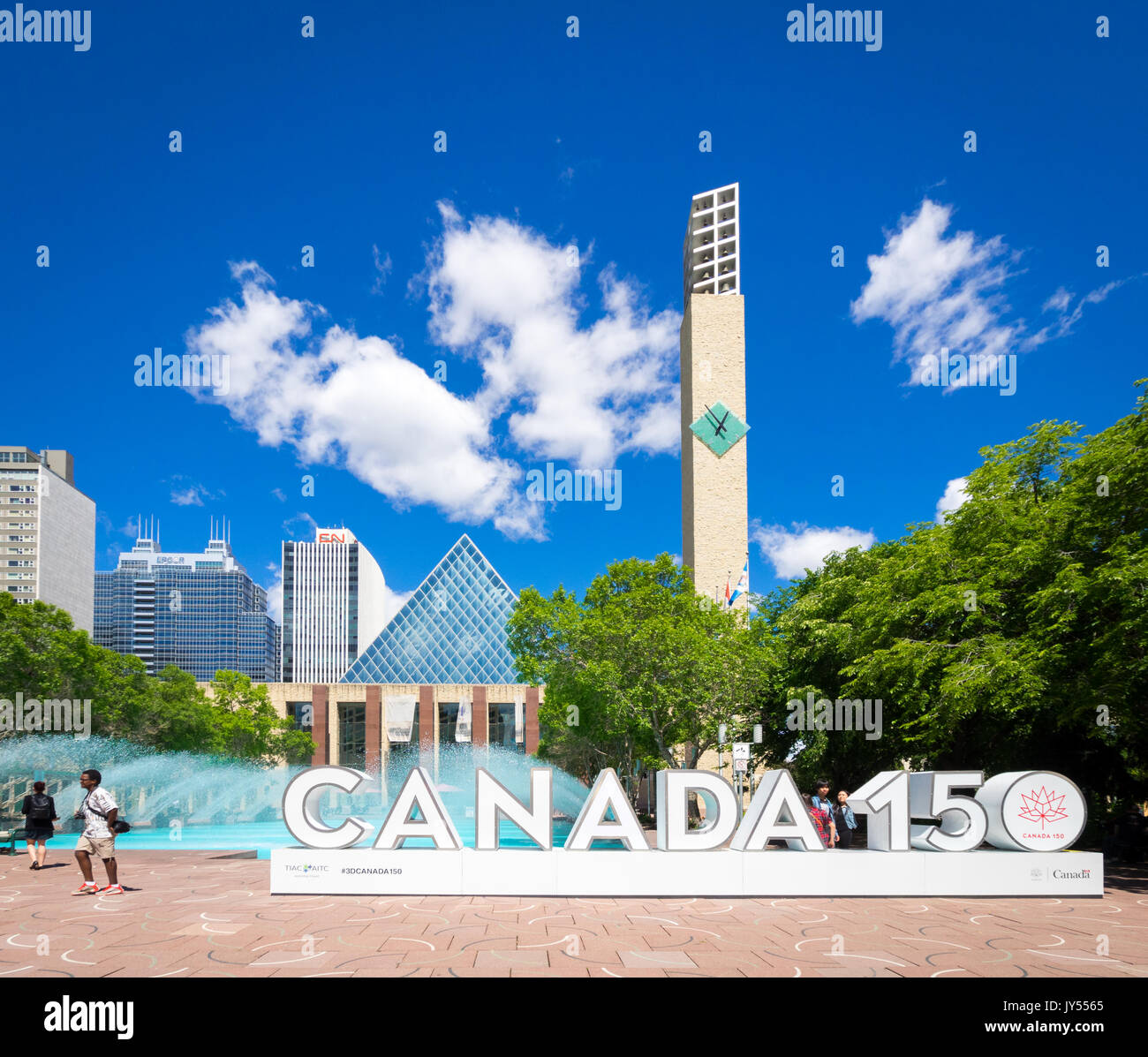 The official 3D Canada 150 sign at Sir Winston Churchill Square in Edmonton, Alberta, Canada. The sign celebrates Canada's 150th anniversary - Stock Image