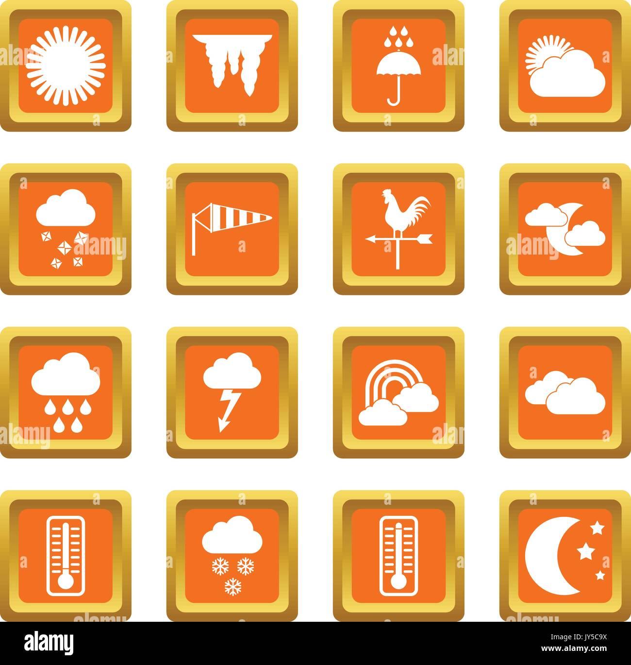 Weather icons set orange - Stock Vector