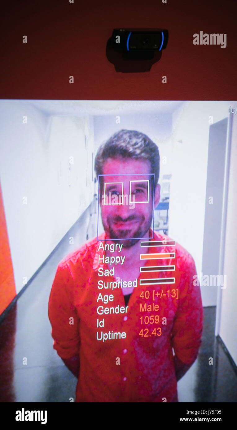 Dresden, Germany. 17th Aug, 2017. A man being measured by a face recognition system in an exhibition room of the new exhibition 'The face. A search for clues' ('Das Gesicht. Eine Spurensuche') in the German Hygiene Museum in Dresden, Germany, 17 August 2017. The exhibition takes place between 19 August 2017 and 25 February 2018. Photo: Oliver Killig/dpa-Zentralbild/dpa/Alamy Live News - Stock Image