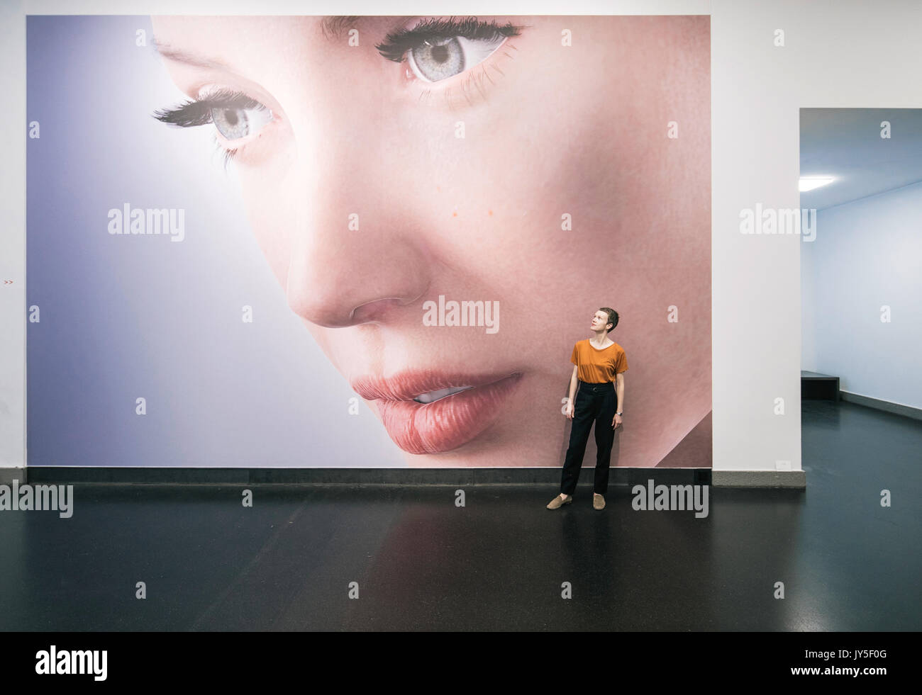 Dresden, Germany. 17th Aug, 2017. Curator Kathrin Meyer standing in front of the picture 'Rigged' (2014) by Kate Cooper at the entrance of the new exhibition 'The face. A search for clues' ('Das Gesicht. Eine Spurensuche') in the German Hygiene Museum in Dresden, Germany, 17 August 2017. The exhibition takes place between 19 August 2017 and 25 February 2018. Photo: Oliver Killig/dpa-Zentralbild/dpa/Alamy Live News - Stock Image