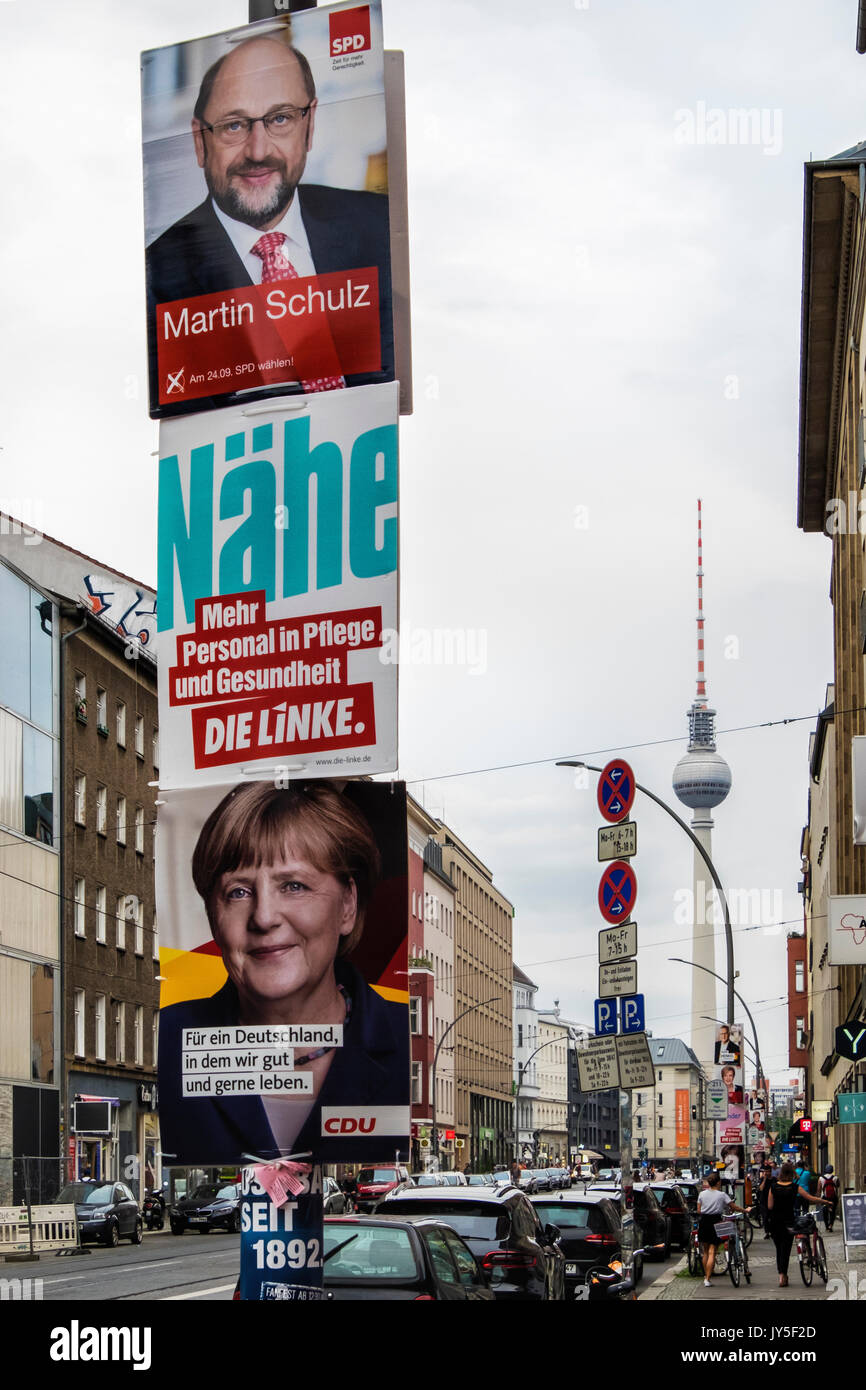 Berlin, Germany. 17th Aug, 2017. Election posters appear in Berlin streets. The German Federal Election takes place on 24 September 2017 and all political parties are competing for space to promote their candidates Credit: Eden Breitz/Alamy Live News - Stock Image