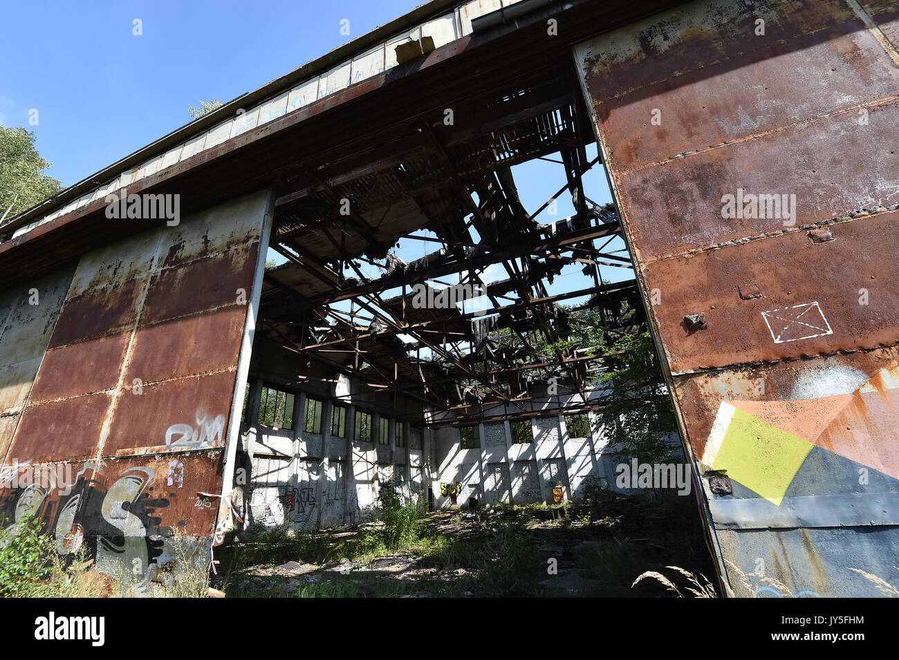 The Gate Of Landmarked Hangar In Grounds Former Schonwalde Air Base Germany 17 August 2017 An Investor Is Aiming To Purchase