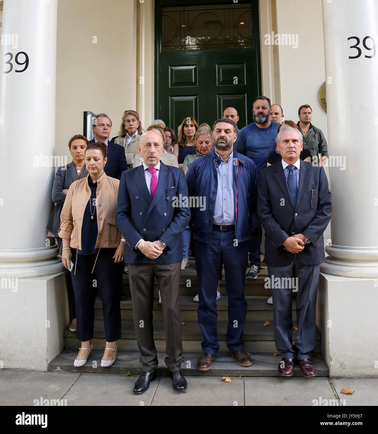 Spanish Embassy. London, UK. 18th Aug, 2017. Staff at the Spanish Embassy in London, including, the Deputy Head Stock Photo