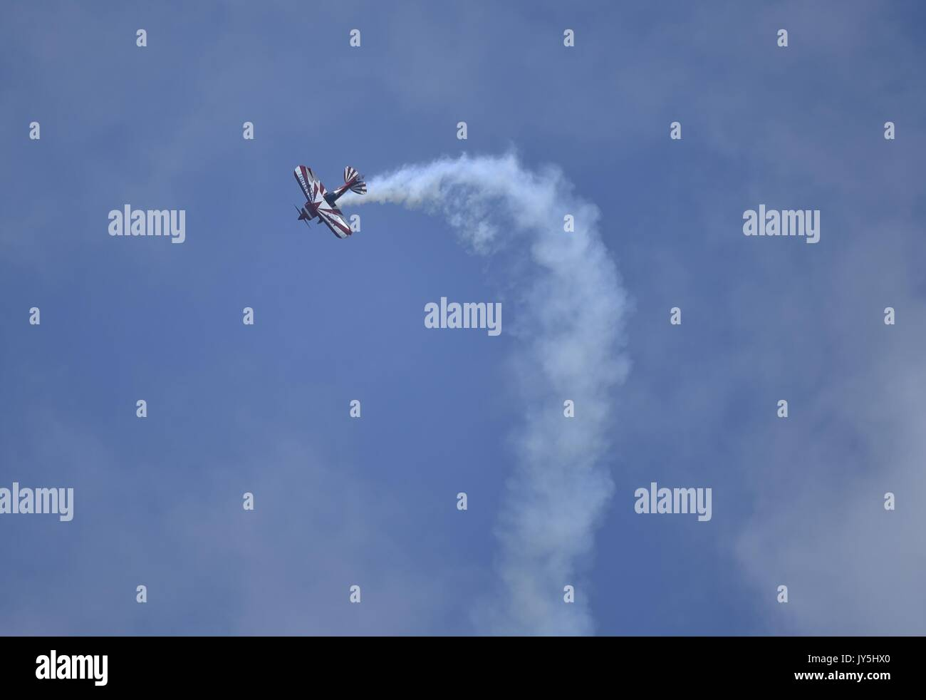 Shenyang. 18th Aug, 2017. A squadron member performs aerobatic flight during the 6th Faku Flight Conference in Shenyang, Stock Photo