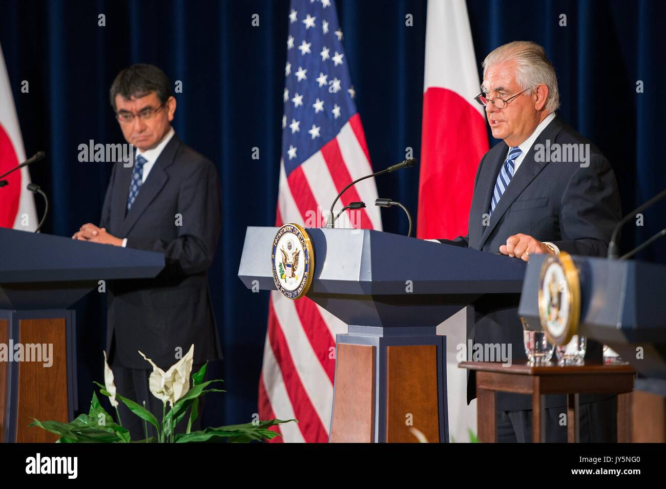 U.S. Secretary of State Rex Tillerson during a joint press conference with Japanese Foreign Minister Taro Kono following Stock Photo