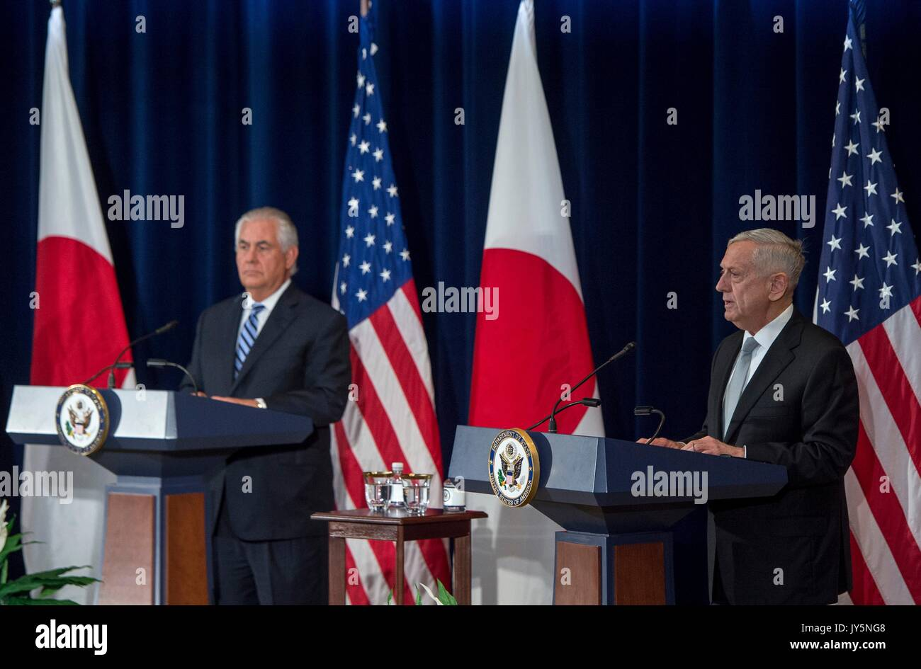 U.S. Defense Secretary Jim Mattis, right, and Secretary of State Rex Tillerson during a joint press conference following Stock Photo