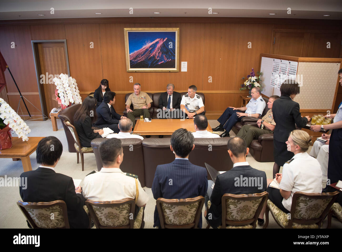 Tokyo, Japan. 18th Aug, 2017. U.S. Chairman of the Joint Chiefs Gen. Joseph Dunford and delegation meets with Japanese Defence Minister Tomohiro Yamamoto at the Ministry of Defense August 18, 2017 in Tokyo, Japan. Dunford is in Japan to meet with Japanese leaders and to discuss defusing the situation in North Korea. Credit: Planetpix/Alamy Live News - Stock Image