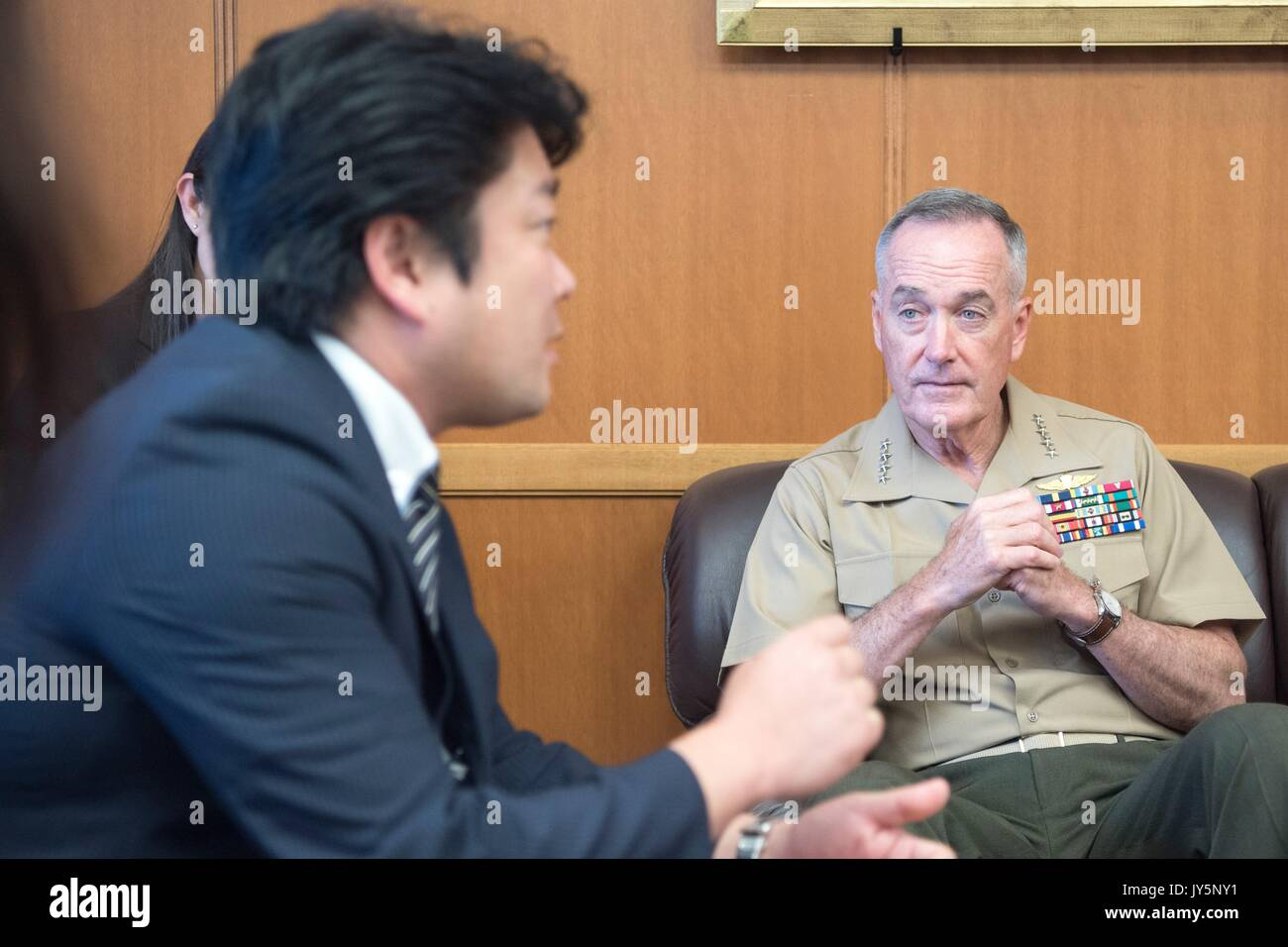 Tokyo, Japan. 18th Aug, 2017. U.S. Chairman of the Joint Chiefs Gen. Joseph Dunford during a bilateral meeting with Stock Photo