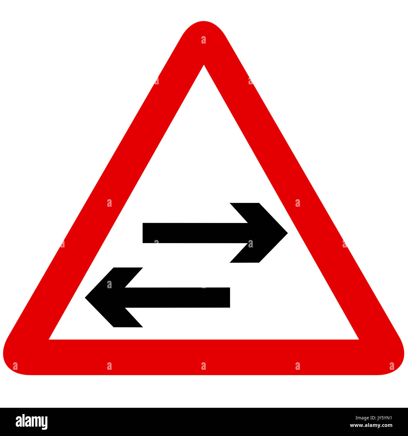 Two Way Traffic Crosses One Way Road Road Sign On White Background