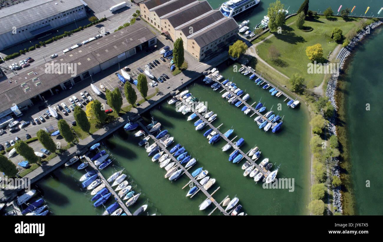 Luftaufnahme des Bootshafen  der Stadt Romanshorn *** Local Caption *** Romanshorn, thurgau, Lake Constance, Harbor, Stock Photo