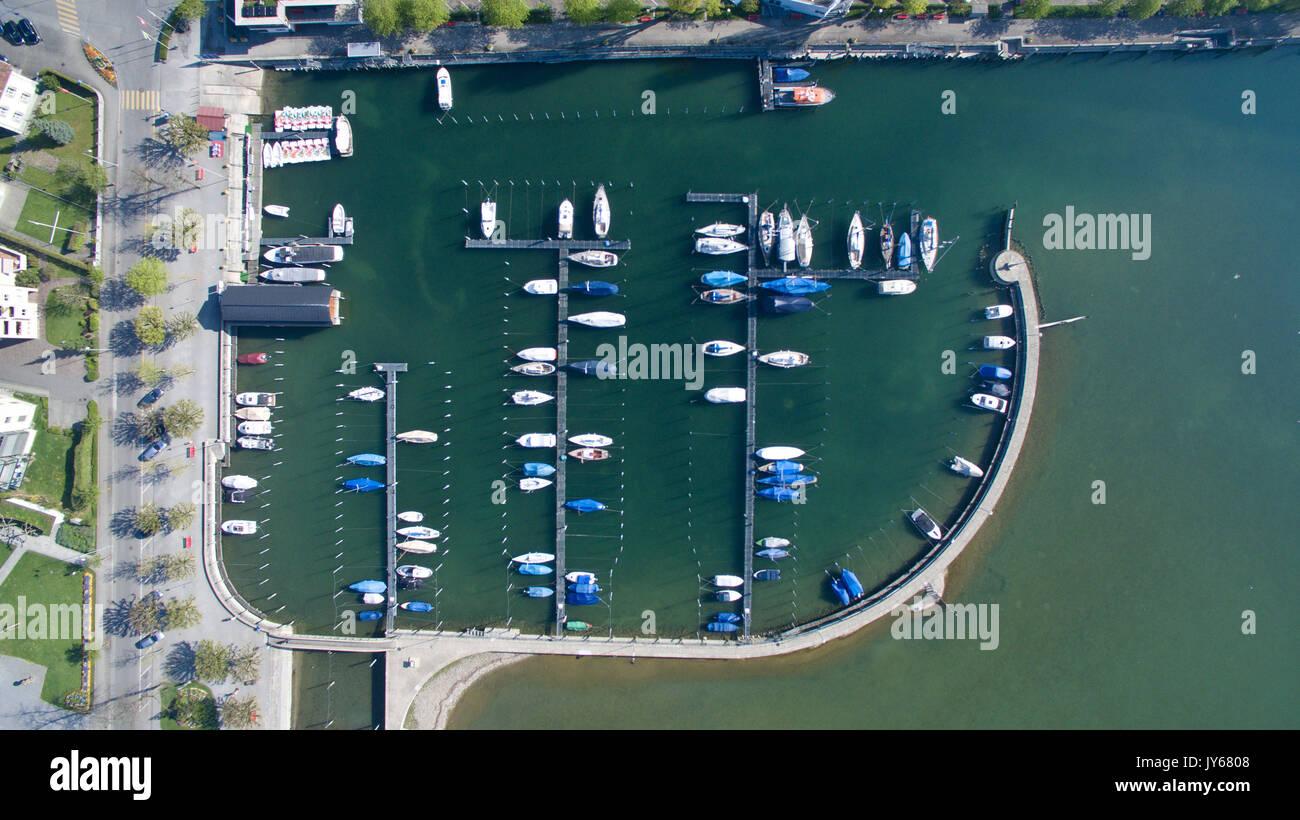 Luftaufnahme der Gemeinde Arbon mit Hafen *** Local Caption *** Arbon, Harbor, Lake Constance, Thurgau, Citry, Switzerland, Stock Photo
