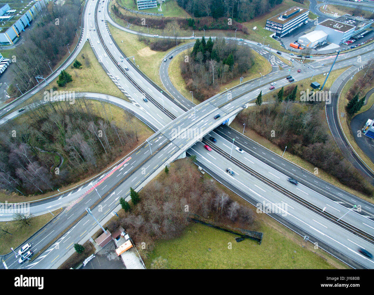 Luftbild Autbahnkreuz *** Local Caption *** Highway, Road, Traffic, Transportation, Switzerland, Aerial View, aerial photography, from above, aerial p - Stock Image