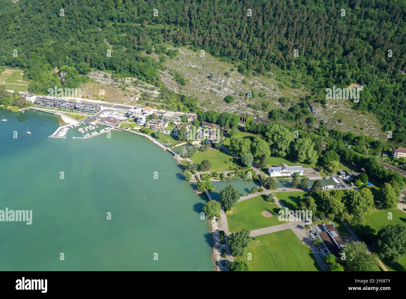 Luftaufnahme Bielersee *** Local Caption *** Berne, Biel, Lake Biel, Landscape, Tourism, Lake, Switzerland, Aerial View, aerial photography, from abov - Stock Image