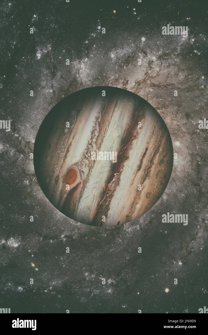 Solar System - Jupiter. It is the fifth planet from the Sun and the largest in the Solar System. Its a giant planet - Stock Image