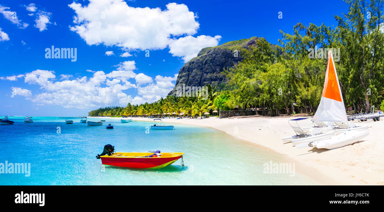 Gorgeous beaches of Mauritius island. water sport activities - Stock Image
