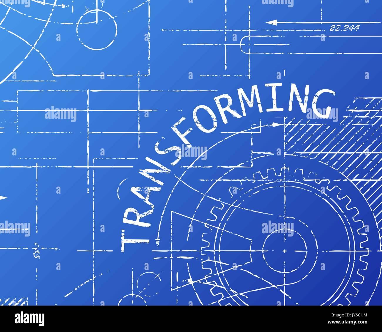 Transforming word on machine blueprint background illustration - Stock Image
