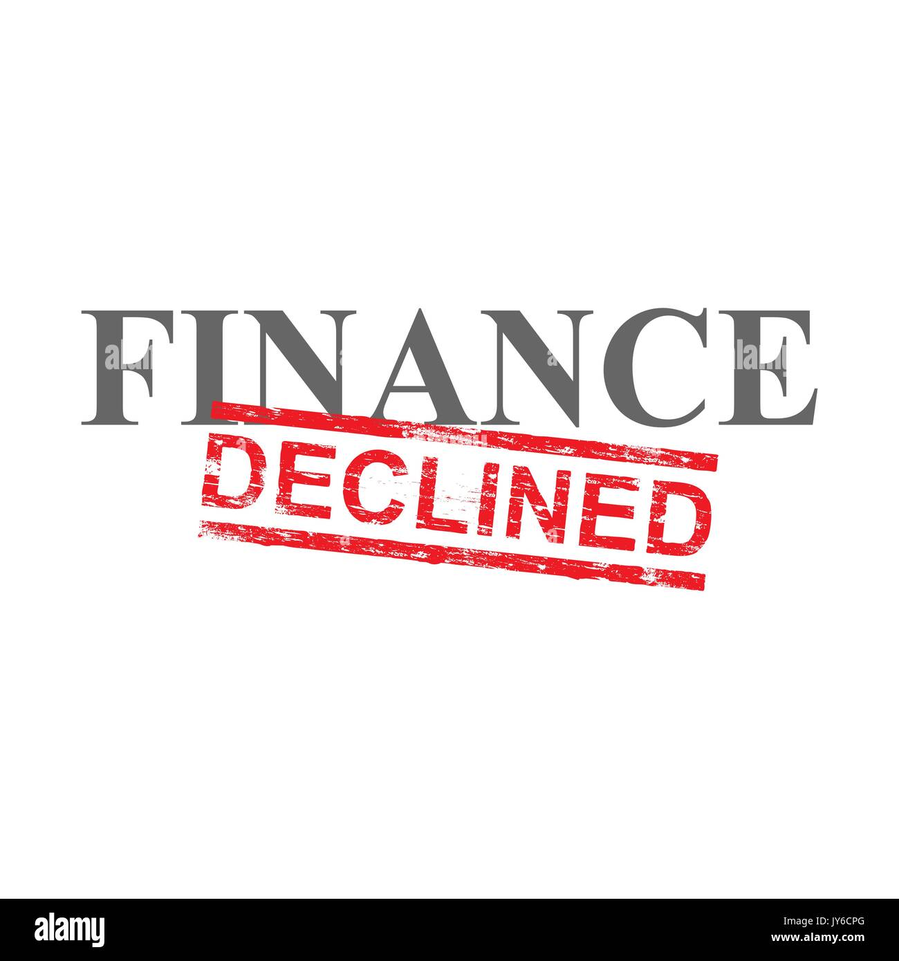 Declined grungy red rubber stamp over finance word illustration - Stock Vector