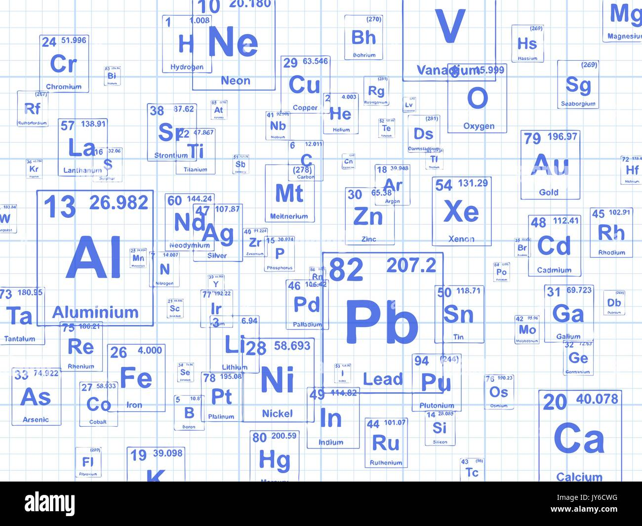 Chemical elements. Background illustration on graph paper - Stock Vector