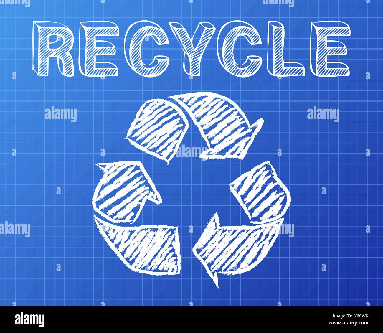 Recycle symbol and word drawn on blueprint background stock vector recycle symbol and word drawn on blueprint background malvernweather Gallery