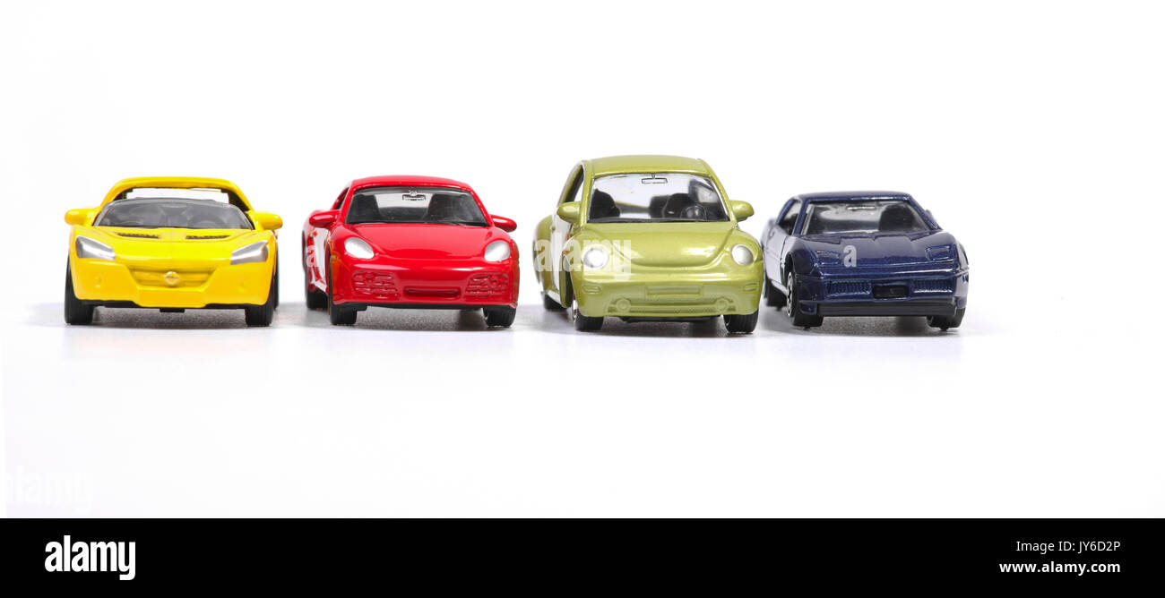 Toy cars in a row - Stock Image