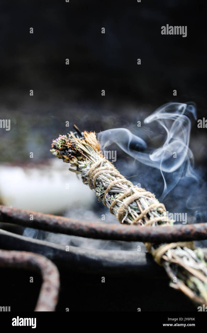 Burning  Self-Made Smudge Stick - Stock Image